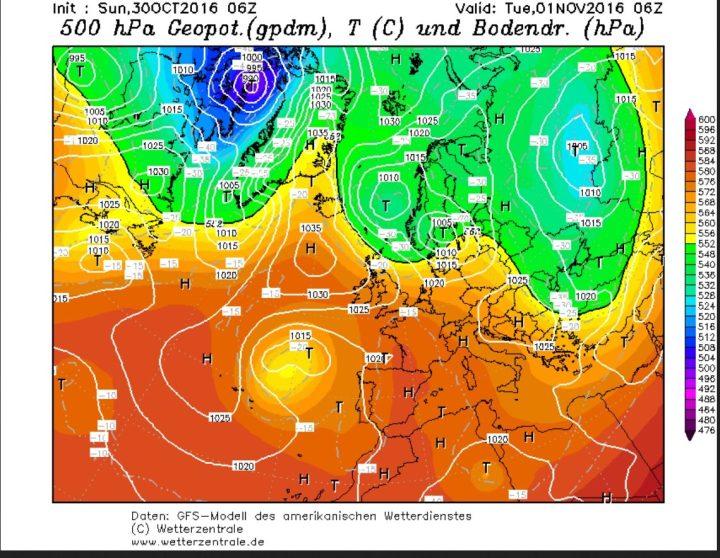 GFS-Prognose des Bodenluftdrucks und der Temperaturen in 500 hPa (ca. 5500 m) vom 30.10.2016 für den 1.11.2016. Östlichen des hohen Drucks Grönland/Island und Idem Nordatlantik (Blockade) wird ein Tiefdrucksystem nach Südosten gelenkt und leitet auf seiner Rückseite in breitem Strom die Zufuhr hochreichender Polarluft nach Europa ein. Quelle: wie vor