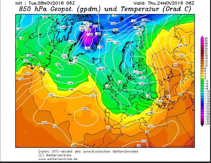 GFS-Prognose vom 8.11.2016 für den Luftdruck und die Temperaturen in 850 hPa (rund 1500 m Höhe) am 24.11.2016. Ein hochreichendes und umfangreiches Zentraltief über der Ostseeführt an seiner Nord- und Westseite kalte und feuchte Polarluftmassen nach Europa, die verbreitet zu Schneefällen führen. Quelle: