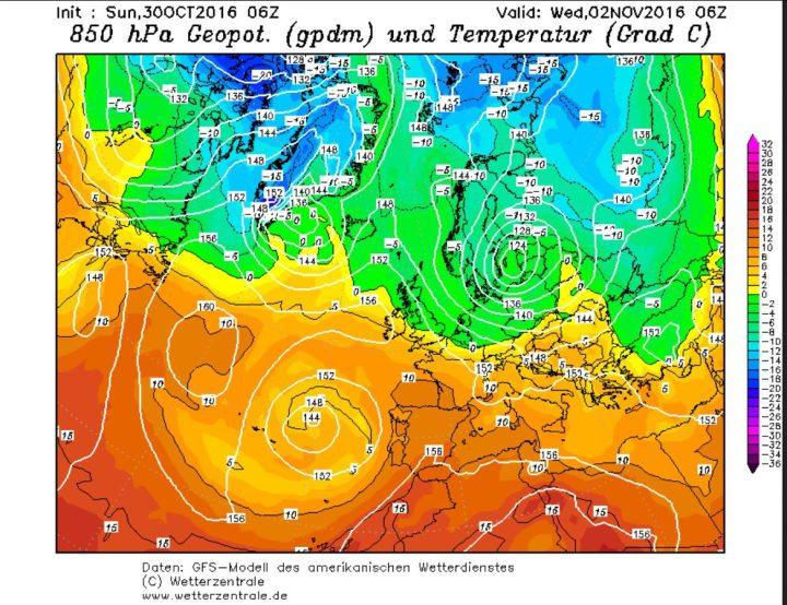 GFS-Prognose vom 30.10.2016 für den Luftdruck und die Temperaturen in 850 hPa (rund 1500 m Höhe) am 2.11.2016. Ein hochreichendes und umfangreiches Zentraltief über der Ostseeführt an seiner Nord- und Westseite kalte sibirische Luftmassen nach Europa. Quelle: