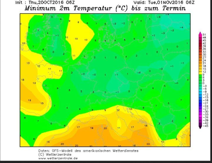 GFS-Prognose der Tagestiefsttemperaturen (Tmin) vom 20.10.2016 für den 1.11.2016. Mit Tmin um oder unter 0°C vor allem in der Südhälfte Deutschlands tritt verbreitet Nachtfrost auf. Quelle: