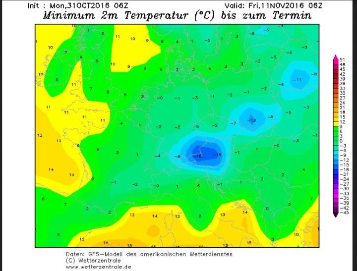 GFS-Prognose der Tiefsttemperaturen (Tmin) vom 31.10.2016 für den 1.11.2016. Mit Tmin meist unter 0°C in Deutschlands tritt verbreitet Nachtfrost auf. Quelle: