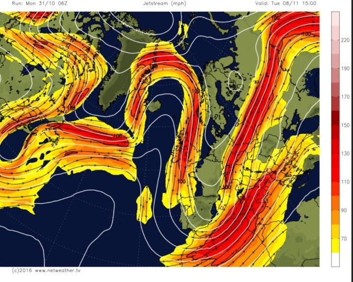 GFS-Polarjet-Prognose in rund 9 km Höhe (300 hPa) für Europa vom 30.10. für den 8.11.2016 mit blockierendem Hoch über dem Nordatlantik (Grönlandblock) und kaltem Trog über großen Teilen Europas. Arktische Luftmassen werden mit nördlicher Strömung von der Arktis direkt nach Europa gelnkt.