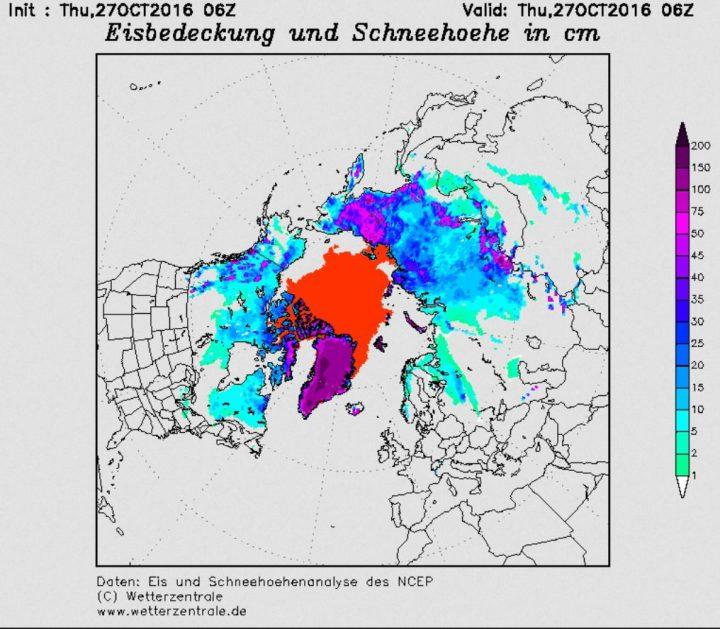 Schneebedeckung der NH am 27.10.2016. Vor allem in Sibirien - aber auch in Osteuropa - sind überdurchschnittlich große Flächen Ende Oktober mit Schnee bedeckt. Quelle: