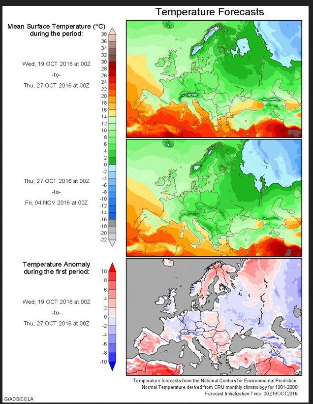 Prognose der Temperaturabweichungen zum (kühlen) Klimamittel 1901-2000 für Europa vom 19.10.2016 für den Zeitraum bis zum 4. November 2016. Der Lkrober bleibt überwiegend unterkühlt, in Nordosteuropa setzt Einwinterung mit Dauerfrost ein. Quelle:
