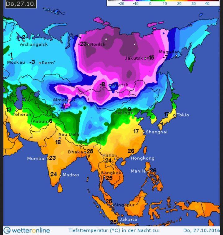 WO-Prognose com 26.10.2016 für die Tmin in Sibirien in der Nacht zum 27.10.2016. Quelle: