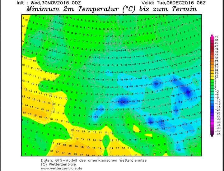 GFS_Prognose der Tmin vom 30.11. für den 6.12.2016 (Nikolaustag). In Deutschland und anderen Teilen Europas beginnt der Nikolaustag frostig und mit bis zu -19°C auch eisig. Quelle: