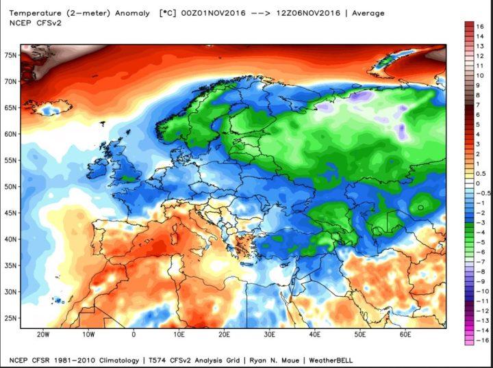 Die Grafik zeigt die Analyse der Abweichungen der 2m-Temperaturen vom international üblichen und von der WMO empfohlenen modernen Klimamittel 1981-2010 in Europa vom 1. bis 6. November 2016. Goße Teile Europas sind unterkühlt (blau(grüne Farben). Quelle: