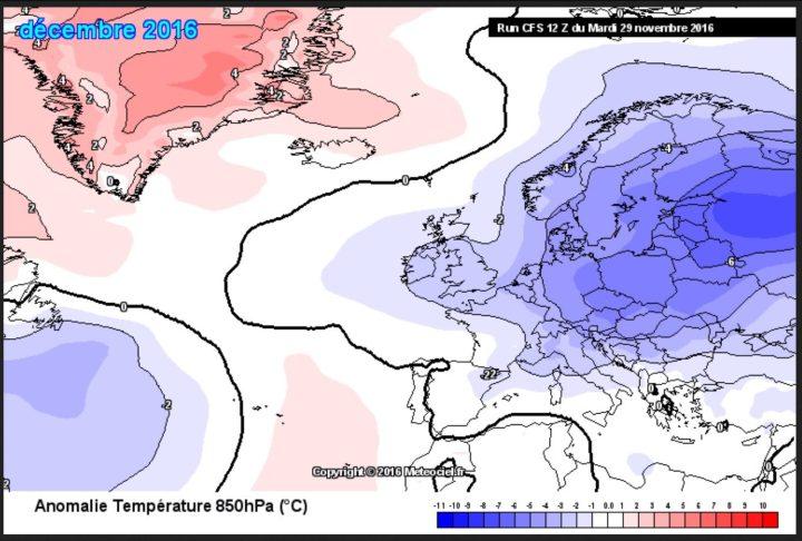 Der Plot zeigt die CFSv2-Prognose vom 29.11.2016 für die Temperaturabweichungen in Europa im Dezember 2016 in rund 1500 m Höhe (850 hPa). Europa ist gegenüber dem international üblichen und von der WMO empfohlenen modernen Klimamittel 1981-2010 mit bis zu -7 K stark unterkühlt. Die Abweichungen in Deutschland liegen bei -3 bis -5 K, also durchschnittlich im Dauerfrostbereich: Ein Eiswintermonat!