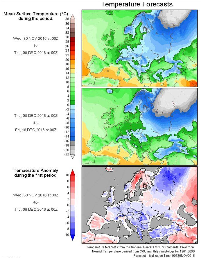 Die Grafiken zeigen die Prognosen für die 2m-Durchschnittstemperaturen und deren Abweichungen (untere Grafik) in Europa für den Zeitraum vom 30.11. bis 16.12.2016. Große Teile Europas liegen im tiefwinterlichen Dauerfrostbereich, auch Deutschland ist in der ersten Dezemberwoche zum (kalten) Klimamittel 1901-2000 mit -1 bis -3 K deutlich unterkühlt und dürfte damit überwiegend im Dauerfrostbereich liegen. Quelle: http://wxmaps.org/pix/temp4.html