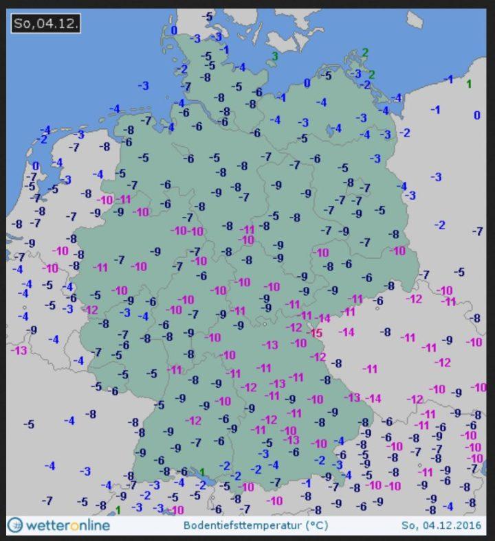 Die Bodentemperaturen in Deutschland liegen am 4.12.2016 verbreitet um oder unter -10°C: Ein eisiger Dezembermorgen... Quelle: