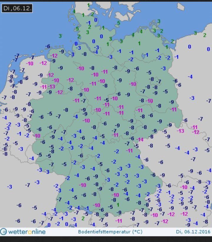 Eisiger Nikolaustag 2016 in Deutschland mit Bodentemperaturen (5 cm) teils unter -10°C. Quelle:
