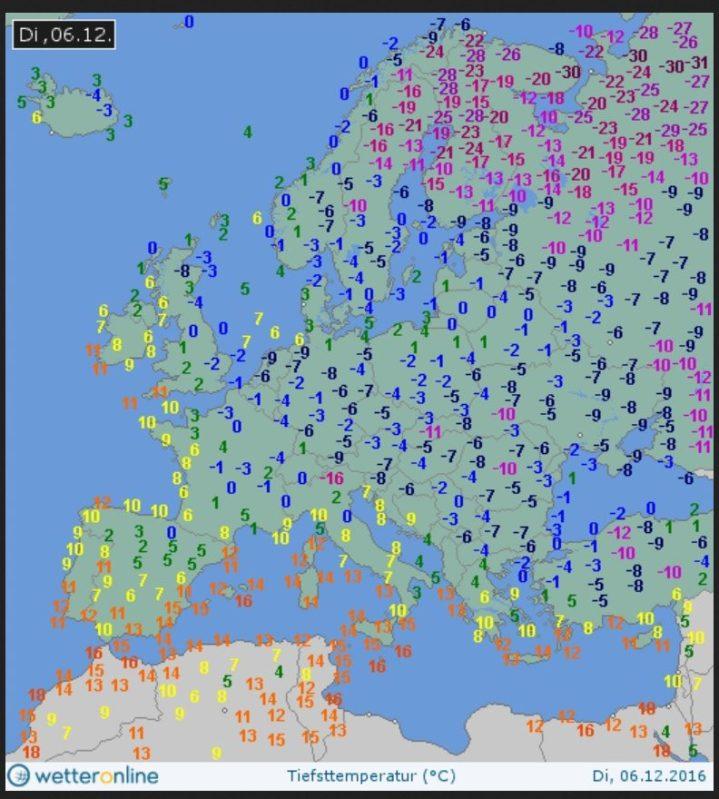 Eisiger Nikolaustag 2016 in Europa mit Tmin/2m bis zu -30°C. Quelle: