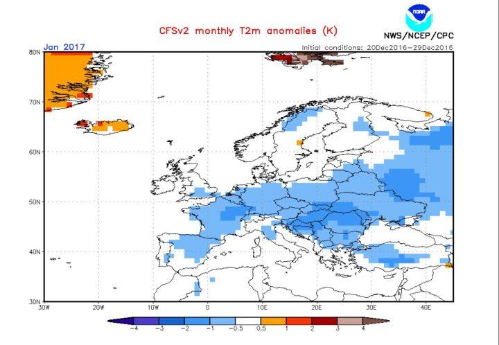 Die CFSv2-Prognose Ende Dezember 2016 für die Abweichungen der 2m-Temperaturen vom vieljährigen Klimamittel in Europa im Januar 2017. Große Teile Europas - auch Deutschland - werden mit negativen Abweichungen von -0,5 bis minus 2 Grad Celsius gerechnet - ein relativ kalten Januar 2017! Quelle: