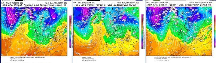 Vergleich der Modellprognosen fvon GEM, ECMEF und GFS für 850 hPa (rund 1500 m Höhe) vom 29.12.2016, 00.00 Uhr für den 8.1.2017: In seltener Einigkeit zeigen alle drei Modelle den Atlantik/Grönlandblock und einen winterlichen Trog über Mitteuropa. Quelle:
