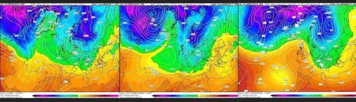 Vergleich der Modellprognosen von ECMWF, GFS und GEM für 850 hPa (rund 1500 m Höhe) vom 30.12.2016, 00.00 Uhr für den 8.1.2017: In seltener Einigkeit zeigen alle drei Modelle weiter den Atlantik/Grönlandblock und einen winterlichen Trog über Mitteuropa. Quelle: