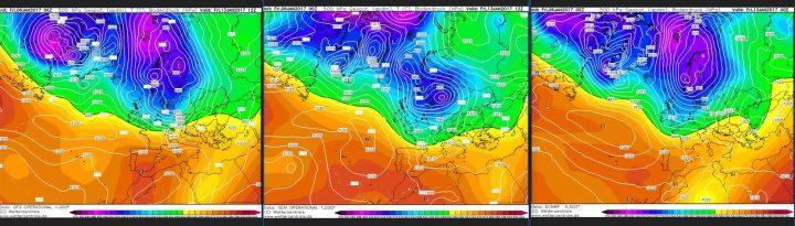 Vergleich der Modellprognosen von ECMWF, GFS und GEM für 500 hPa (rund 5500 m Höhe) vom 6.1.2017, für den 14.1.2017: In großer Einigkeit zeigen alle drei Modelle weiter den Atlantik/Grönlandblock und einen winterlichen Trog über Mitteuropa. Quelle: