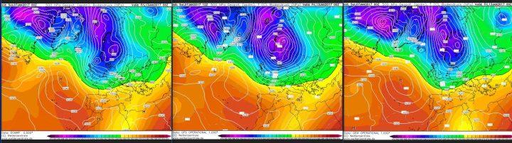 Vergleich der Modellprognosen von ECMWF, GFS und GEM für 500 hPa (rund 5500 m Höhe) vom 31.12.2016, 00.00 Uhr für den 8.1.2017: In seltener Einigkeit zeigen alle drei Modelle weiter den Atlantik/Grönlandblock und einen winterlichen Trog über Mitteuropa. Quelle: