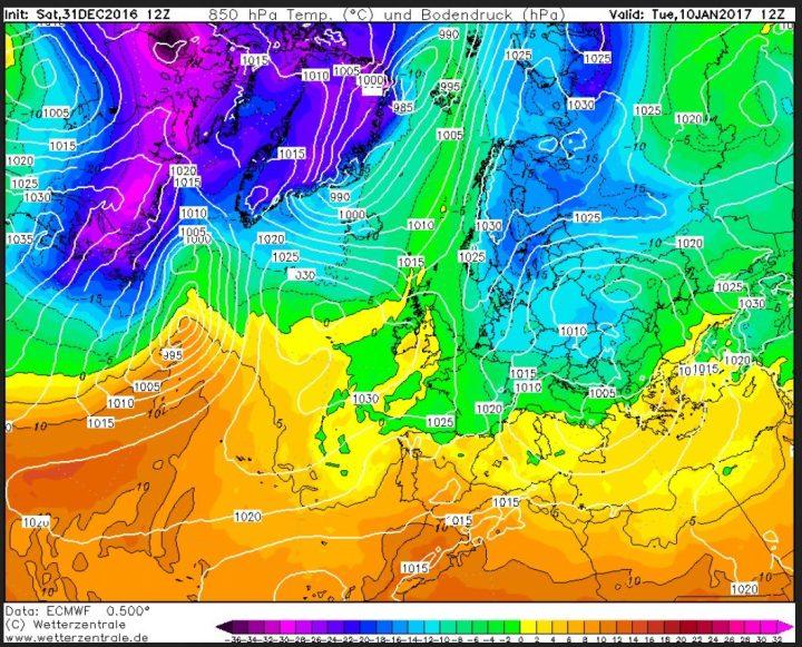 ECMWF-Prognose für 850 hPa (rund 1500 m Höhe) vom 31.12.2016, 00.00 Uhr für den 10.1.2017: Ein Skandinavienblock und ein umfangreiches Wintertief über Ost- und Mitteleuropa. Quelle: