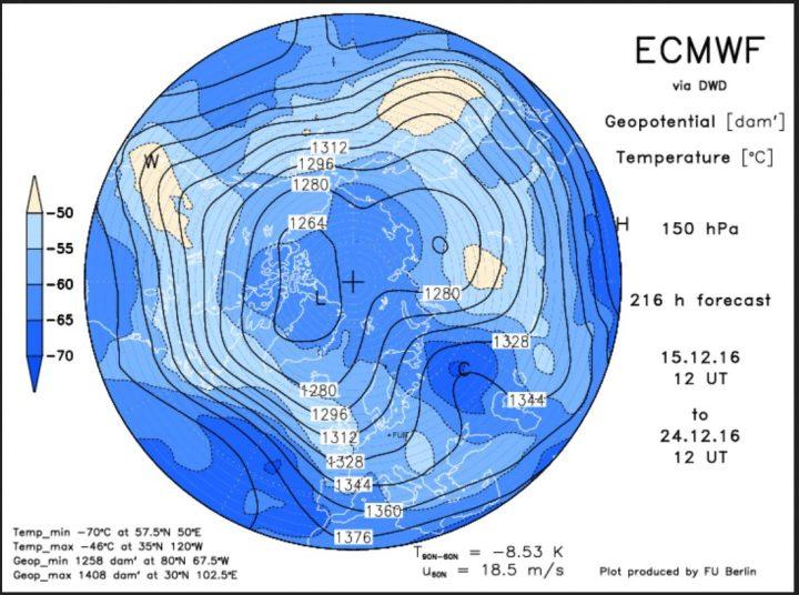 ECMWF-Strat.-Prognose vom 15.12. für den 24.12.2016 mit kaltem Trog über West- und Mitteleuropa: Weiße Weihnachten sind möglich!