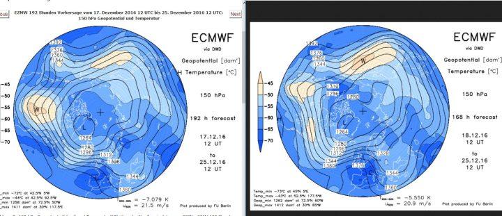 Vergleich der ECMWF-Strat.-Prognosen in 150 hPa (rund 14 km Höhe, untere Stratosphäre) vom 17. zum 18. 12.2016 für den 25.12.2016. Gegenüber der Rechnung vom 17. hat sich der Trog am 25.12.2016 etwas weiter (schneller) nach Osten verlagert. Der Druck über Skandinavien wird etwas schwächer gerechnet, dafür der Druck über Frankreich und GB höher. Weiße Weihnachten sind möglich, aber nun mehr für die höheren Lagen... Quelle: