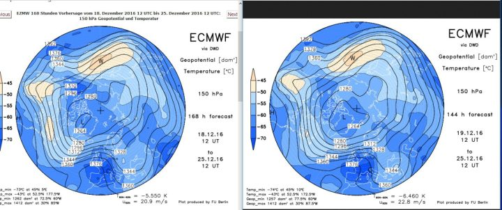 Vergleich der ECMWF-Strat.-Prognosen in 150 hPa (rund 14 km Höhe, untere Stratosphäre) vom 18. zum 19. 12.2016 für den 25.12.2016. Gegenüber der Rechnung vom 18. hat sich der Trog am 25.12.2016 noch etwas weiter (schneller) nach Osten verlagert. Der Druck über Skandinavien wird etwas schwächer gerechnet, dafür der Druck über Mitteleuropa noch etwas höher. Im wetlichen Mittelmeer ist der Druck etwas nmiedriger als in der Rechnung vom Vortag. Weiße Weihnachten sind möglich, aber weiter mehr für die höheren Lagen... Quelle: