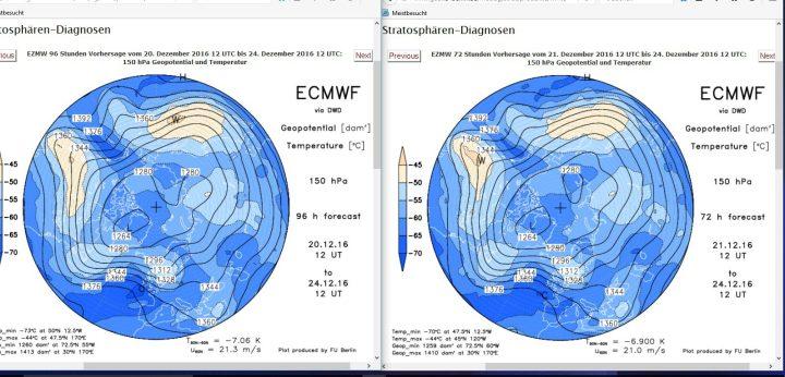 Vergleich der ECMWF-Strat.-Prognosen in 150 hPa (rund 14 km Höhe, untere Stratosphäre) vom 20. zum 21.12.2016 für den 24.12.2016. Gegenüber der Rechnung vom 15. ist der Trog am 24.12.2016 nahezu unverändert und liegt weiter über Mitteleuropa. Der Druck über Skandinavien wird noch etwas schwächer gerechnet. Der Druck über Spanien wird nun etwas höher gerechnet als am Vortag. Weiße Weihnachten sind möglich, aber weiter nur für die höheren Lagen... Quelle:
