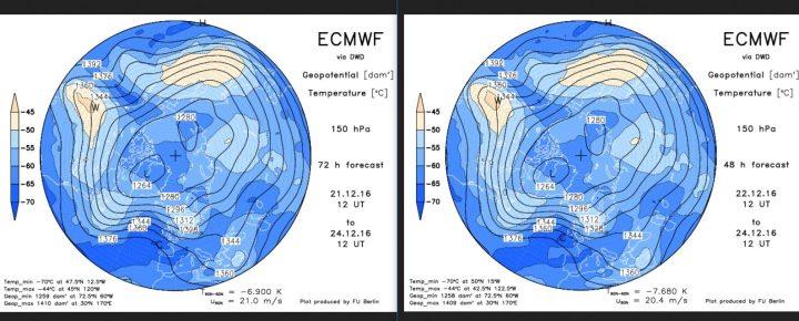 Vergleich der ECMWF-Strat.-Prognosen in 150 hPa (rund 14 km Höhe, untere Stratosphäre) vom 21. zum 22.12.2016 für den 24.12.2016. Gegenüber der Rechnung vom 15. ist der Trog am 24.12.2016 nahezu unverändert und liegt weiter über Mitteleuropa. Der Druck über Skandinavien wird noch etwas schwächer gerechnet. Der Druck über Spanien wird nun etwas höher gerechnet als am Vortag. Weiße Weihnachten sind möglich, aber weiter nur für die höheren Lagen... Quelle: