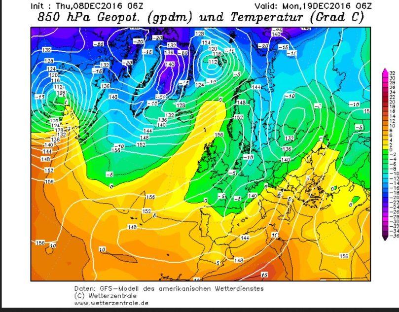 GFS-Prognose vom 8.12.2016 für den Luftdruck und die Temperaturen in 850 hPa (rund 1500 m Höhe) am 18.12.2016. Ein hochreichendes und umfangreiches Zentraltief über der Polen führt an seiner Nord- und Westseite kalte und feuchte Polarluftmassen nach Europa, die verbreitet zu starken Schneefällen führen. Quelle: