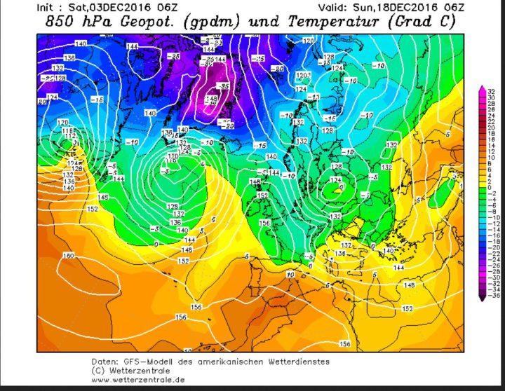 GFS-Prognose vom 3.12.2016 für den Luftdruck und die Temperaturen in 850 hPa (rund 1500 m Höhe) am 18.12.2016. Ein hochreichendes und umfangreiches Zentraltief über der Polen führt an seiner Nord- und Westseite kalte und feuchte Polarluftmassen nach Europa, die verbreitet zu starken Schneefällen führen. Quelle:
