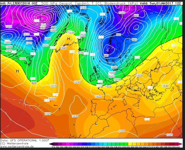 GFS-Prognose des Bodenluftdrucks und der Temperaturen in 500 hPa (ca. 5500 m) vom 23.12. für den 1.1.2017. Über dem Nordatlantik und Grönland hat sich ein mächtiges Hochdruckgebiet aufgebaut (Grönlandblock). Zwischen ihm und einem umfangreichen Tiefdruckgebiet über Skandinavien strömt mit einer nördlichen Strömung hochreichende eisige Polarluft von der Arktis nih EuropaKaltluft um -30°C in 500 hPa (rund 5500 m Höhe). Quelle: