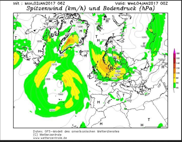 GFS-Prognose vom 1.1.2017 für die Windstärken am 4.1.2017. Für die Deutsche Nordseeküste wird mit Nordweststurm um 100 km/h (Windstärke10/11) gerechnet, das bedeutet erneute Sturmflutgefahr! Quelle: