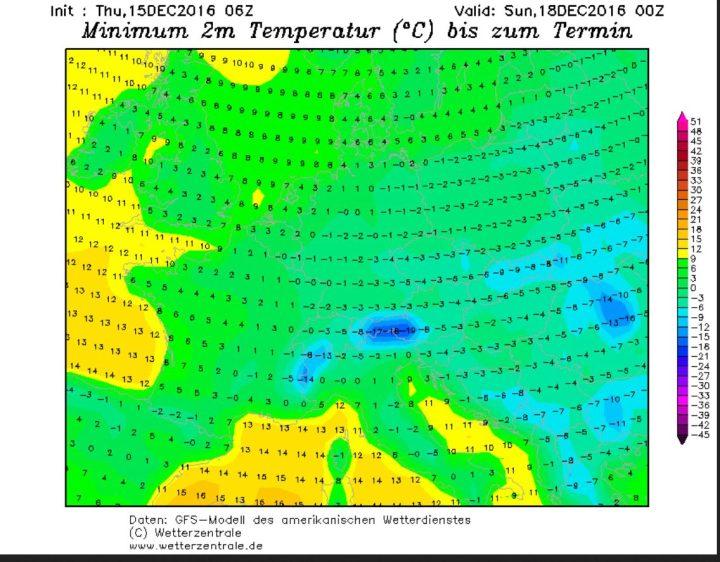 GFS-Prognose der Tmin vom 15. für den 18.12.2016 (4. Advent). Die Nachttemparaturen liegen in Deutschland - und in anderen Teilen Europas - verbreitet unter 0°C. Quelle:
