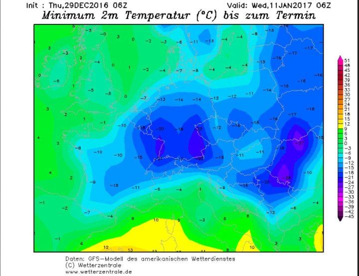 GFS06-Prognose vom 29.12.2016 für die Tmin am 11.1.2016: Europa wird von sibirischer Kälte mit Temperaturen um -20°C überzogen. Quelle: