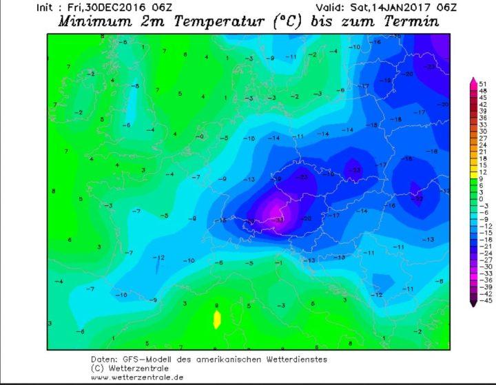 GFS06-Prognose vom 30.12.2016 für die Tmin am 14.1.2016: Europa wird von sibirischer Kälte mit Temperaturen bis zu -30°C überzogen. Quelle: