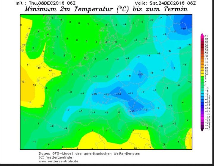 GFS-Prognose der Tmin vom 8.12.2016 für die Nacht zum 24.12.2016. In Deutschland und anderen Teilen Mitteleuropas die Temperaturen um oder unter 0°C, so dass Niederschläge bis ins Flachand als Schnee fallen können. Quelle: