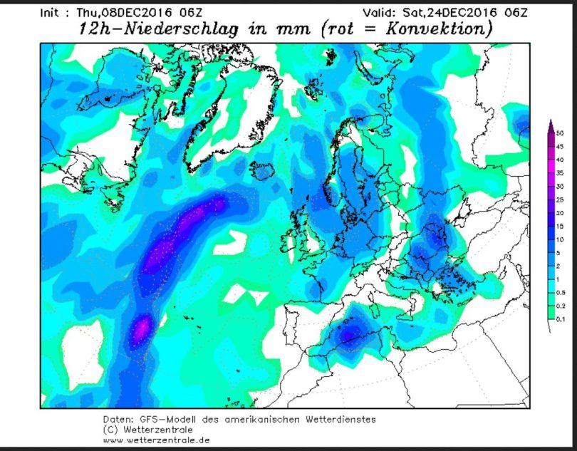 GFS-Prognose vom 8.12.2016 für die Niederschläge in Europa in der Nacht zum 24.12.2016. Bei Temperaturen um oder unter 0°C gibt es verbreitet kräftige Schneefälle vor allem in Deutschland. Quelle: wie vor