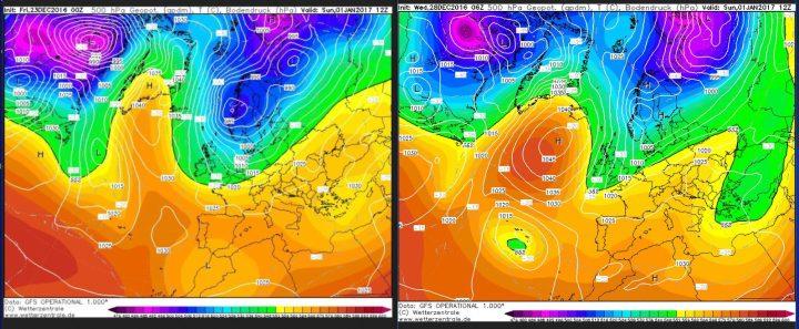 Vergleich der GFS-Prognosen des Bodenluftdrucks und der Temperaturen in 500 hPa (ca. 5500 m) vom 23.12. und 28.12.2016 für den 1.1.2017. Über dem Nordatlantik und Grönland hat sich ein mächtiges Hochdruckgebiet aufgebaut (Grönlandblock). Zwischen ihm und einem umfangreichen Tiefdruckgebiet über Skandinavien strömt mit einer nördlichen Strömung hochreichende eisige Polarluft von der Arktis nih EuropaKaltluft um -30°C in 500 hPa (rund 5500 m Höhe). Gegenüber der Rechnung vom 23.12. zeigt die Rechnung vom 28.12.2016 eine SW-Verlagerung des Hochdrucks, das Grundmuster ist allerdings sehr ähnlich geblieben. Quelle:
