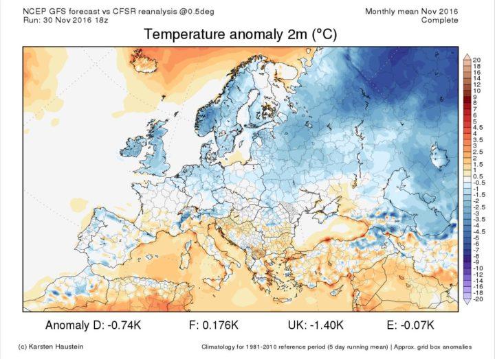 Die Grafik zeigt die GFS-Abweichungen der 2m-Temperaturen in Europa vom 1. bis zum 31. November. Der November 2016 in Europa ist großflächig zum WMO-Klimamittel 1981-2010 unterkühlt, Deutschland weist ein Minus von 0,74 K auf. Quelle: http://www.karstenhaustein.com/climate.php