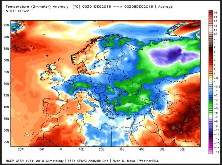 Die Amalyse der 2m-Temperaturen für die erste Dezemberwoche 2016 zeigt Europa goßflächig unterkühlt. Die negativen Abweichungen (blau/grüne Farben) zum WMO-Klimamittel 1981-2010 liegen auch in Deutschland bei eisigen bis zu -