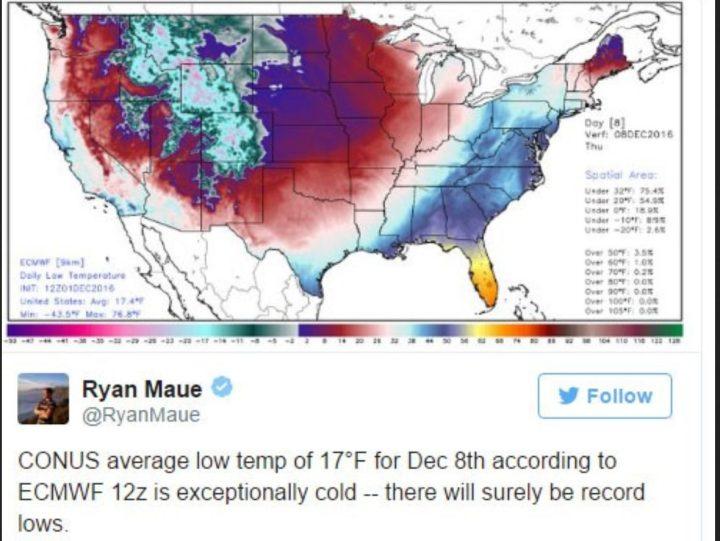 ECMWF-Prognose vom 1.12.2016 für die Tmin in den USA am 8.12.2016. Es wird verbreitet mit extremem Frost und mit Rekordkälte für diese Jahreszeit gerechnet. Quelle: