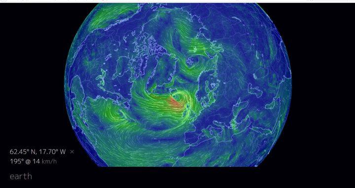 Standbild der Oberflächenwinde der Erde, hier Arktis, Nordatlantik und Eurasien. Quelle: wie vor