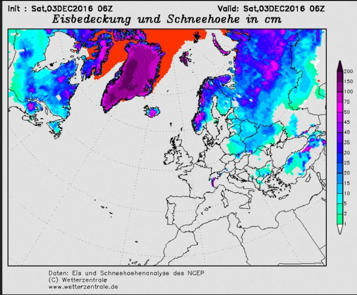 Der Plot zeigt die Schneebedeckung in Europa am 3.12.2016. Große Teile Europas sind von Sibirien bis ins ösrliche Mitteleoropa (Polen) durchgehend mit Schnee bedeckt. Quelle: