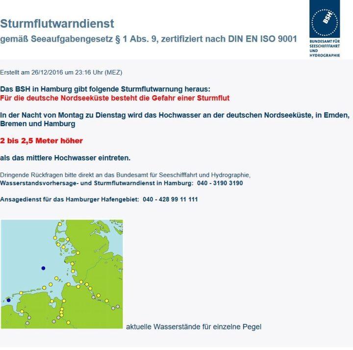 UPDATE 26.12.2016: Aktuell Graupelgewitter und Schneeschauer im Norden! Akute Sturmflutwarnung des Bundesamtes für Seeschifffahrt und Hydrographie vom 26.12.2016, 23.16 Uhr. Quelle: wie vor