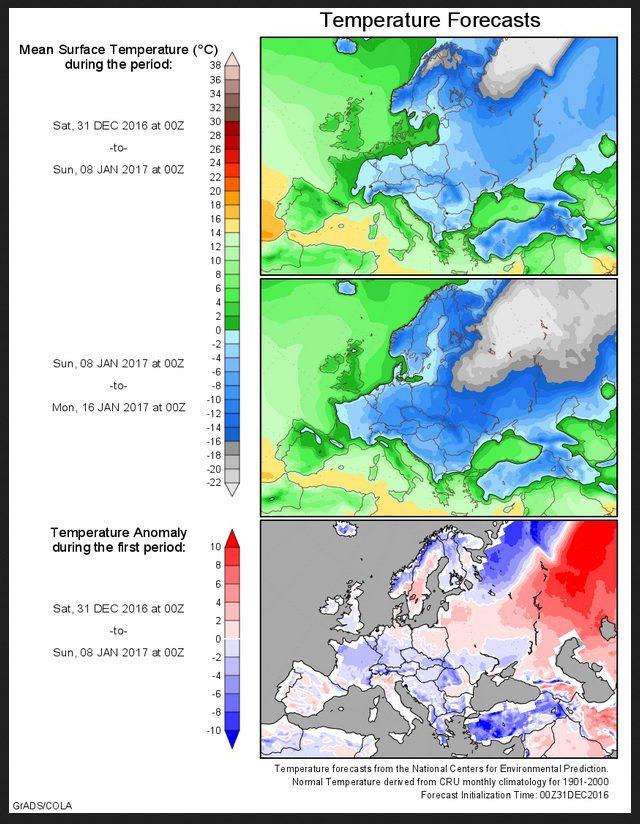 Prognose der Temperaturabweichungen zum (kühlen) Klimamittel 1901-2000 für Europa vom 13.12.2016 für den Zeitraum bis zum 16. Januar 2017. Die erste Hälfte des Januar 2017 Dezember wird zunehmend unterkühlt, in großen Teilen Europas herrscht strenger Frost. Quelle: