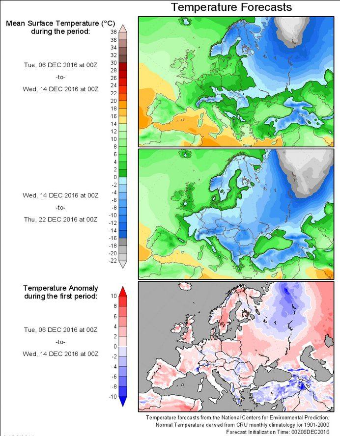 Die Grafiken zeigen die Prognosen für die 2m-Durchschnittstemperaturen und deren Abweichungen (untere Grafik) in Europa für den Zeitraum vom 6.12. bis 2.12.2016. Große Teile Europas liegen vom 14. bis 22.12.2016 im tiefwinterlichen Dauerfrostbereich, auch Deutschland ist in der Woche vor Weihnachten Dezemberwoche zum (kalten) Klimamittel 1901-2000 mit -1 bis -3 K deutlich unterkühlt und dürfte damit überwiegend im Dauerfrostbereich liegen. Quelle: http://wxmaps.org/pix/temp4.html