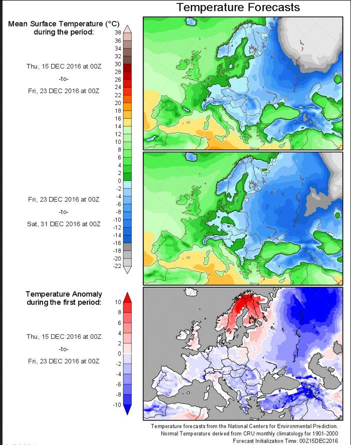 Prognose der Temperaturabweichungen zum (kühlen) Klimamittel 1901-2000 für Europa vom 15.12.2016 für den Zeitraum bis zum 31. Dezember 2016. Der Dezember bleibt überwiegend unterkühlt, in großen Teilen Ost- und Nordeuropas setzt sich der bisher frühe und strenge Winter fort. Quelle: