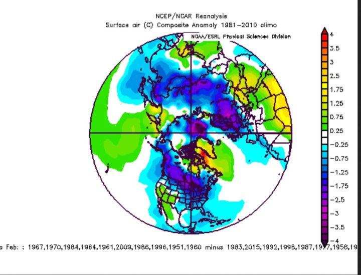 Die endgültge analoge Winterprognose vom 30.11.2016 für die Nordhalbkugel (NH). Große Teile der UDA und Eurasiens sind von Dezember 2016 bis Februar 2017 zum WMO-Mittel 1981-2010 deutlich unterkühlt. Ein Eiswinter 2016/17 droht. Quelle: