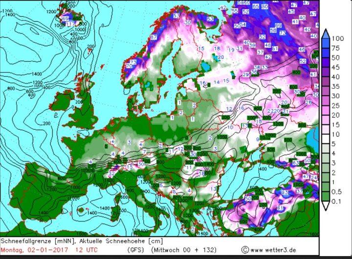 Wetter3/GFS-Prognose für Schneefall und Schneefallgrenze vom 28.12.2016 für den 2.1.2017. In Deutschland werden verbreitet Schneefälle bis ins Flachland erwartet. Quelle: