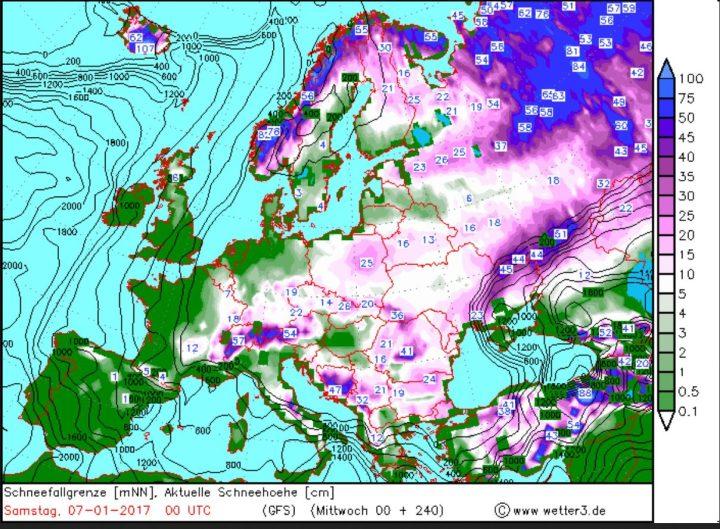 Wetter3/GFS-Prognose für Schneefall und Schneefallgrenze vom 28.12.2016 für den 6./7.1.2017. In Deutschland werden verbreitet Schneefälle bis ins Flachland erwartet. Quelle: wie vor