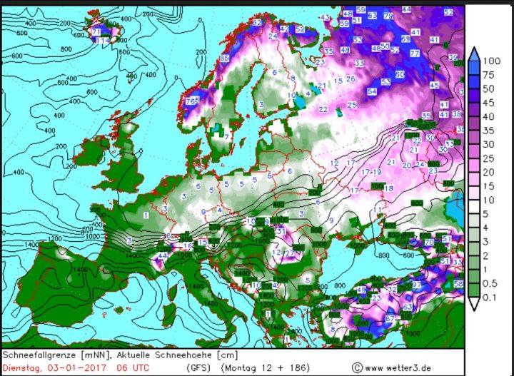 Wetter3/GFS-Prognose für Schneefall und Schneefallgrenze vom 26.12.2016 für den 3.1.2017. In Deutschland werden verbreitet Schneefälle bis ins Flachland erwartet. Quelle: